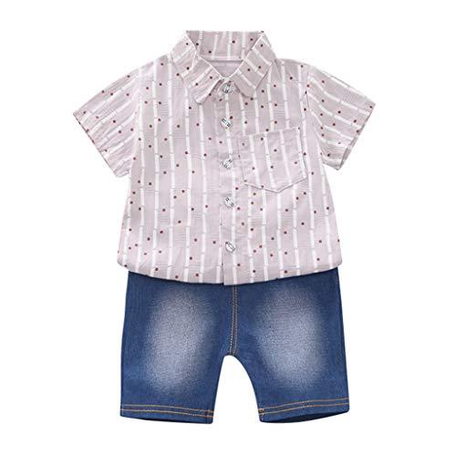 Allegorly Kleinkind Baby Kinder Junge Kurzärmliges Hemd Cartoon Kronenaufdruck T-Shirt Tops + Jeansshorts Hosen Elastische Sommerkleidung Outfit Set 0-3 Jahre (Farbe Teal Blumen-mädchen-kleider)
