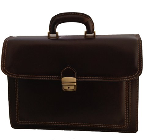 Chicca Tutto Moda CTM Dark Brown Bag Mallette Documents de travail des hommes, 41x31x18cm, 100% cuir Made in Italy