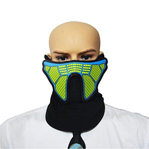 (SUNREEK Sound Aktivieren LED Party Kostüm, Unisex Flashing EL Panel Musiksteuerung LED Party Kostüm Maske für Nacht Reiten, Musik Festival Oder Halloween Party (Krieger))