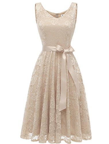 AONOUR AR8008 Damen Floral Spitze Brautjungfern Party Kleid Knielang V Neck Cocktailkleid Champagne...