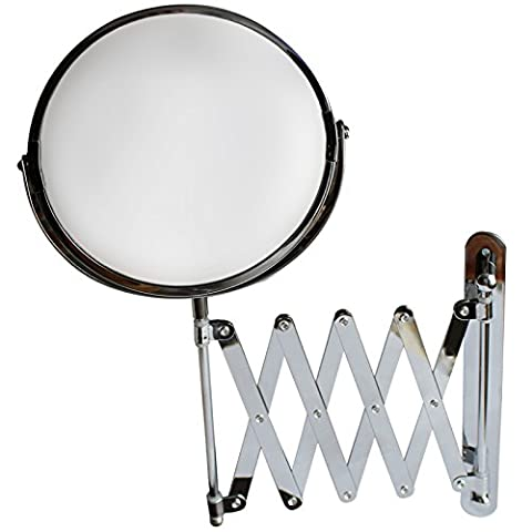 7 Inch Large Wall Mounted Extension Vanity Mirror by Belle Vous - 1x and 3x Magnification - 16 Inch Maximum Extension - For Bathroom and Bedroom - Stainless Steel Chrome Finish - Swivel Head