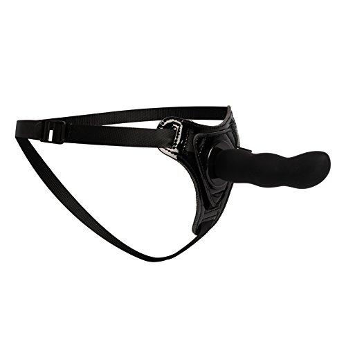Deluxe Strap-On Dildo mit Harness für Frauen, Männer & Paare, Sexspielzeug für Lesben mit verstellbarem Nylon Gurt (S-XXL) & gewelltem Silikon-Dildo, schwarz