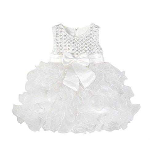 es Bogen Prinzessin Kleid, DoraMe Baby Mädchen Kristallperlen ärmellose Tutu Kleid O-Ausschnitt Geraffte Party Kleid (Weiß, 12 Monate) (12-monats-halloween-kleid)