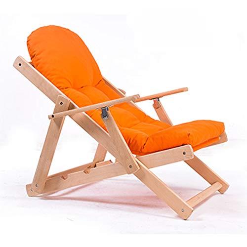 Sitzsäcke Folding Lehnstuhl Lounger Sofa, Stuhl Faltbare Balkon Siesta Lehnstuhl Massivholz Sofa, Sofa, Stuhl (Farbe : Orange)