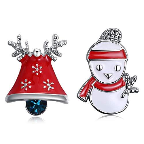 ihnachten Schneemann Glocke Ohrstecker (Farbe: Silber) ()
