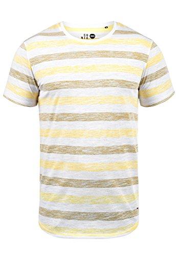 !Solid TET Herren T-Shirt Kurzarm Shirt Mit Streifen Und Rundhalsausschnitt, Größe:XL, Farbe:Mellow Yellow (1005)