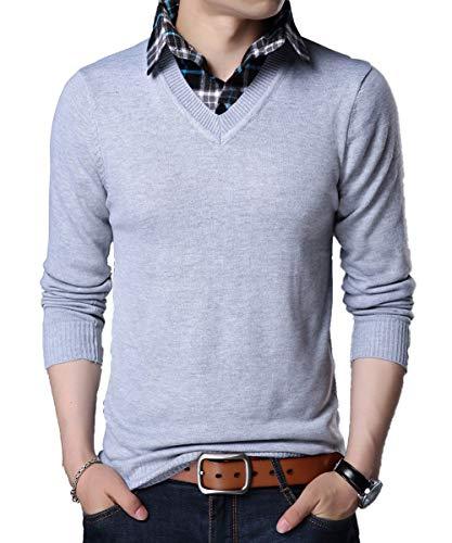 YinQ Lange Ärmel Strickpullover Feinstrick Pullover Mit V-Ausschnitt Herren Strickjacke Cardigan mit Hemdkragen (X-Large, Grau) -