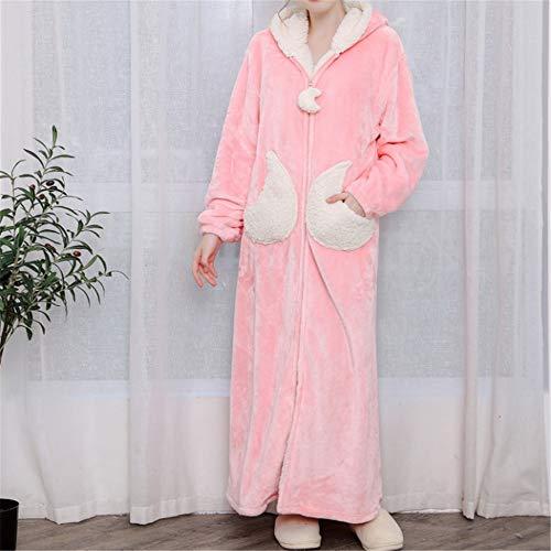 Damen Morgenmantel Kurz Bademantel Kimono Baumwolle Saunamantel Robe Mit V-Ausschnitt Sommer,Verdickung aus korallenrotem Samt und großformatige Flanell-Kapuze mit langem Schnitt A-2 M