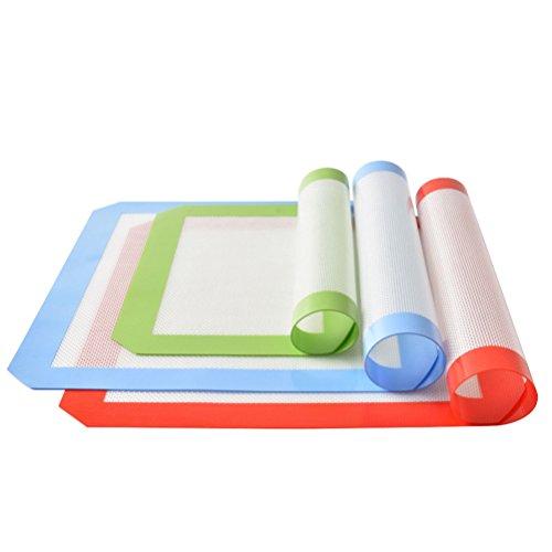 Elektrische Pfanne 12x12 (Wenosda 3 Stück Silikon Backmatte Blatt Set-Non Stick Kochen Matten Liner (rot + grün + blau))