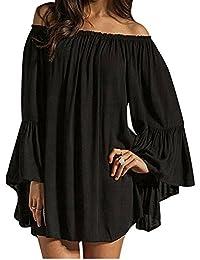 ZANZEA Mujeres Vestido Con Manga Larga Cuello Ancho Mini Dress Camiseta Larga Kaftan Túnica Chiffon