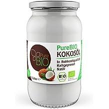 PureBIO Kokosöl 1.000 ml (1L) für HAARE, HAUT und zum KOCHEN - Kokosöl bio, nativ und kaltgepresst