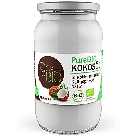 PurBio huile de noix de coco biologique - Coconut Oil Organic Raw 1 Litre screw-top jar