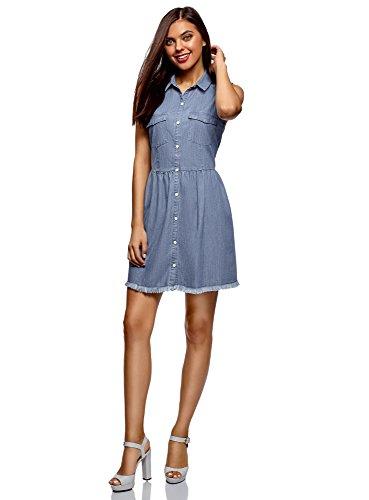 oodji Ultra Damen Jeans-Kleid mit Knöpfen, Blau, DE 40 / EU 42 / L - Frauen Kleider Für Western