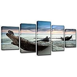 Unbekannt Leinwand Print Poster Wall Art-5-Teilige Kombination Strand Boot Seascape Malerei Modulare Segel Landschaft Freizeit Hintergrund Wand-Wohnzimmer Restaurant Büro,S