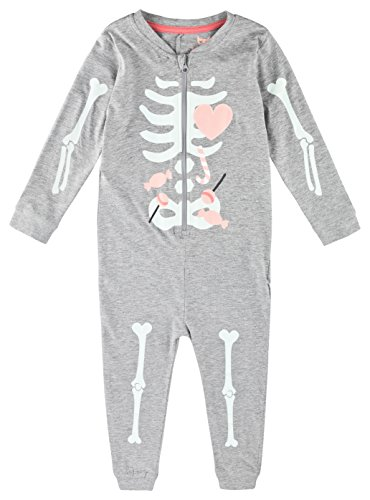 Lupilu Mädchen Overall Onesie Einteiler Pyjama Bündchen Arme Beine Skelett-Ausdruck Reißverschluss (110/116, grau)