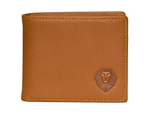 Echt Leder Portemonnaie - Geldbörse - Brieftasche - Geldbeutel - Portmonee für Männer, Herren - kariertes Innenfutter - Querformat - schlank, klein - 11x9,5x1,5 - Geschenk Mann - Slim Wallet braun