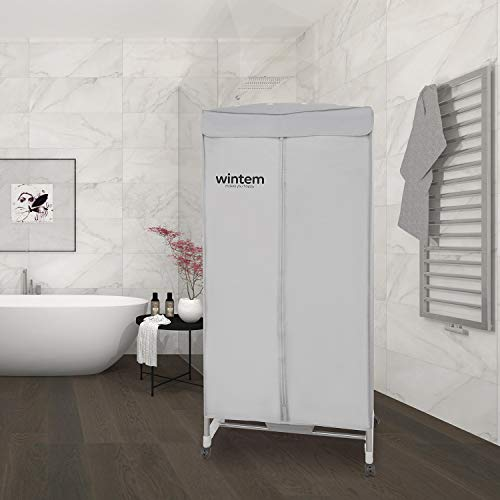 Dryeroon cube asciugabiancheria elettrico ad aria calda cabina armadio acciaio con stand attaccapanni asciugatrice portatile potente e silezioso 1000w asciugone