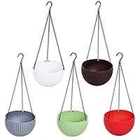 Tex Homz Plastic Hanging Pots Planter, Multicolour, Pot Diameter 8.5 Inch, Pot Height 4.8 Inch, Pot Thickness 3 mm…