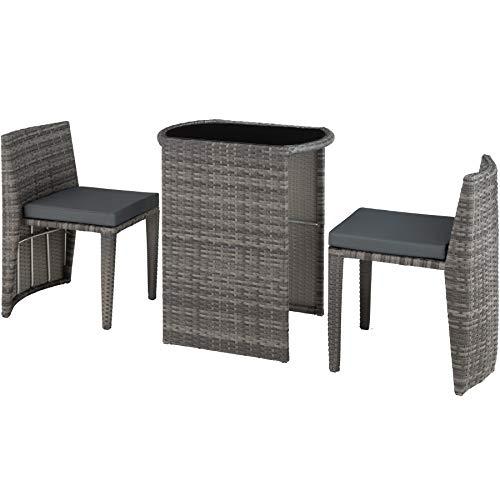 TecTake 800692 Aluminium Polyrattan Bistro Sitzgruppe, platzsparend zusammenschiebbar, wetterfest, inkl. Kissen - Diverse Farben (Grau | Nr. 403144)