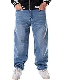 Yujeet Pantalones De Hip Hop De Hombres Carga Estilo Pantalones De Basicas  Jeans Suelta Color Sólido d3de0ed4eb9