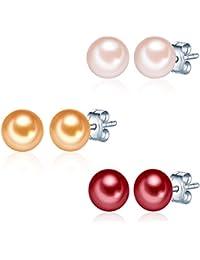 Valero Pearls Classic Collection Damen-Set: 3 Paar Ohrstecker Hochwertige Süßwasser-Zuchtperlen in ca.  7 mm Button rosé 925 Sterling Silber       60020077