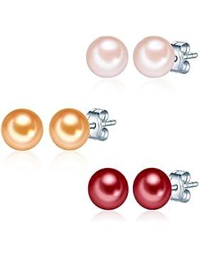 Valero Pearls Classic Collection Damen-Set: 3 Paar Ohrstecker Hochwertige Süßwasser-Zuchtperlen in ca.  7 mm Button...