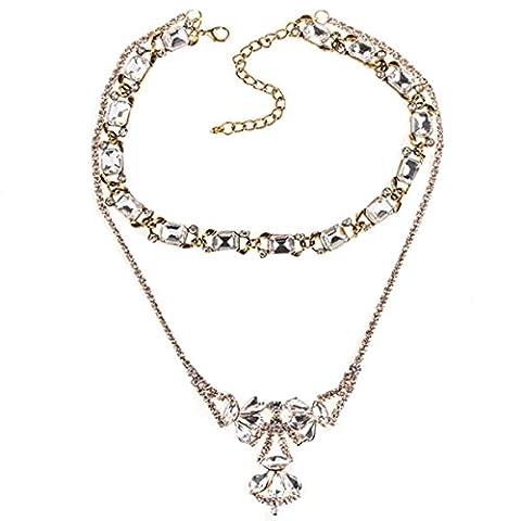 HSNZZPP Damenmode Halskette Multi-Layer-Mode Halskette Geometrischen Diamant-Anhänger Lange Pullover Kette
