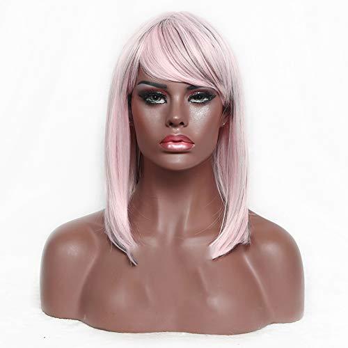 LYHD Perücke Mode Mittellange Gerade Bob Stil Perücke Hitzebeständige Kunsthaar Perücke Kappe für Frauen Mädchen 16 Zoll,Pink (Pink Filmstar Kostüm)