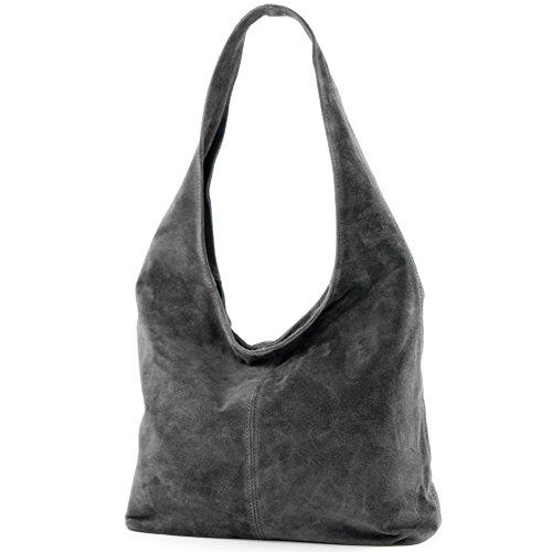 Borsa a mano borsa a tracolla shopping bag donna in vera pelle italiana T02 Dunkelgrau