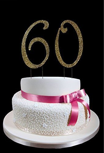 Large Gold 60th Birthday Wedding Anniversary Number Cake Topper With Sparkling Rhinestone Crystals