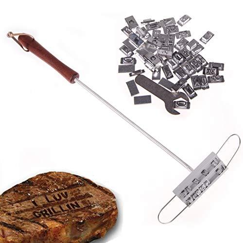 HSSKK Bestecksets Persönlichkeit Steak Fleisch Grill BBQ Brand Branding Eisen mit veränderbaren Buchstaben BBQ Werkzeug veränderbar 55 Buchstaben -