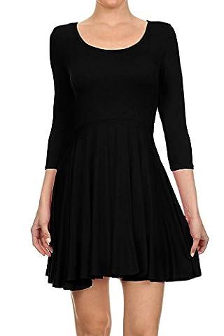 Hot Hanger Womens Long Sleeve Scoop Neck Skater Dress UK 8-28 : Color - Black : Size - 8-10 SM