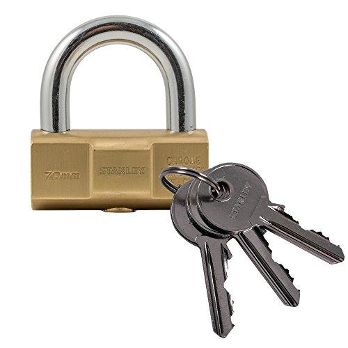 Stanley S742-048 Candado de barril, 3 llaves, Latón, Acero inoxidable