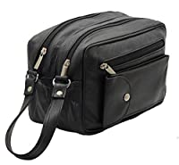 Starhide Real Leather Unisex Multi Compartments Travel Toiletry Overnight Wash Gym Bag Shaving Makeup Cosmetics Bag With Handle Strap (Black) #515