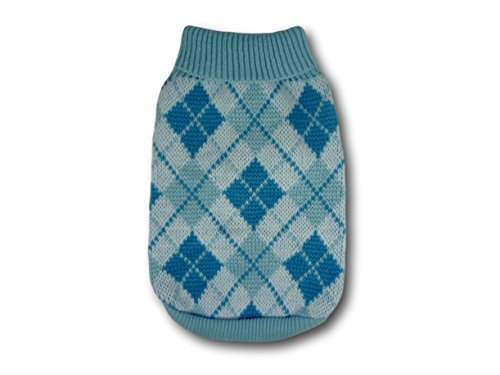 Cara Mia Dogwear Light Blue Argyle Knitted Dog Jumper Sweater (teacup to small breed dogs) 3