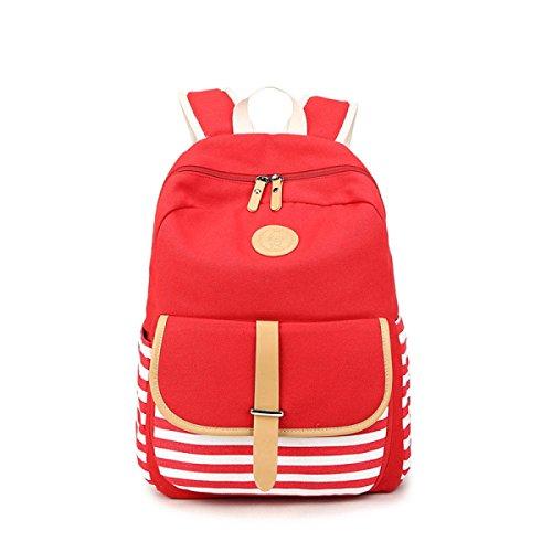 Canvas Tasche Student Rucksack Handtaschen Red
