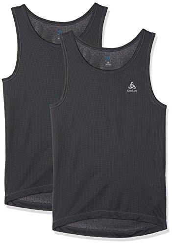 Odlo Herren Singlet Cubic 2 Pack Unterhemd, Ebony Grey-Black, L