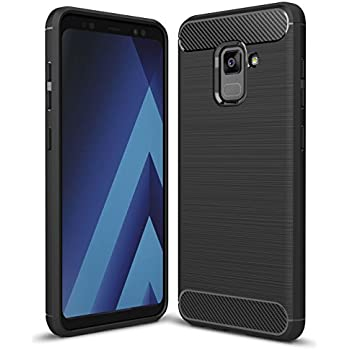 Coque Galaxy A8 2018 Noir , ivencase Samsung A8 2018 Coque Silicone Ultra Fine en Gel Flex TPU