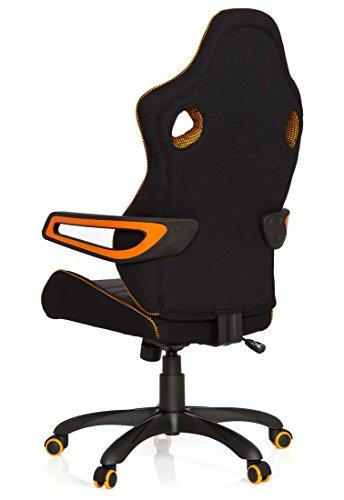 41BWxoeVw8L - hjh OFFICE 621850 RACER PRO IV - Silla gaming y oficina, tejido negro/gris/naranja