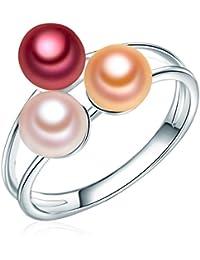 Valero Pearls - Bague - Perles de culture d'eau douce - Argent sterling 925 - Bijoux de perles - Bijoux pour femmes - En plusieurs tailles, bijoux en argent - 60020092