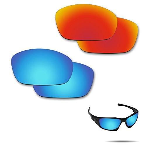 Fiskr Anti-Saltwater Polarisierte Ersatz Gläser für Oakley Sonnenbrille Zehn X 2Paar Verpackt, Fire Red & Ice Blue