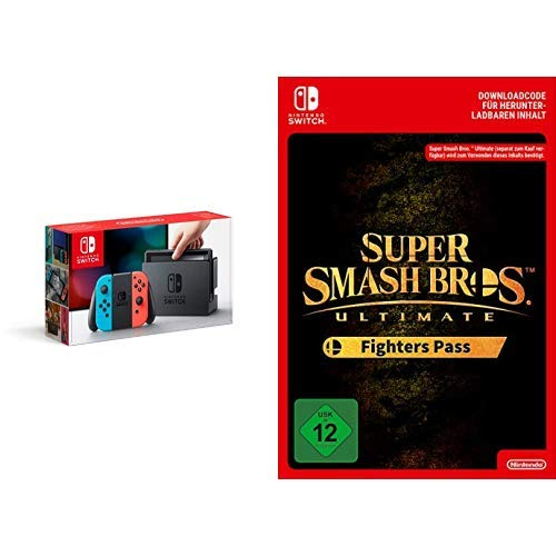 Nintendo Switch Konsole Neon-Rot/Neon-Blau + Super Smash Bros. Ultimate Fighters Pass [Switch Download Code]