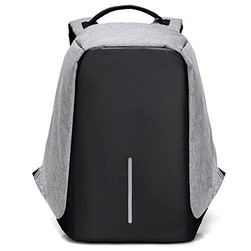 """Fexkean Antifurto Zaino Per Computer Notebook Portatile da 15.6"""" Backpack laptop con porta USB di ricarica e copertura a pioggia Scuola Nero Grigio(Grey)"""