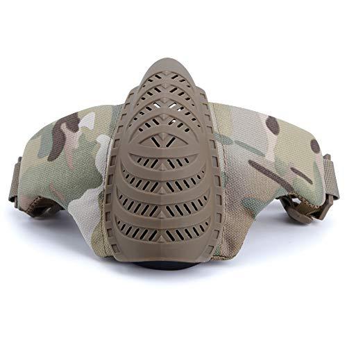 XUE Airsoft Maske Halb Gesichtsmaske Camo Mundschutz Taktische Paintball Halbe Gesichtsschutz Schutz Masken für Softair Kriegsspiel Halloween (8 Flecktarn Farbe)