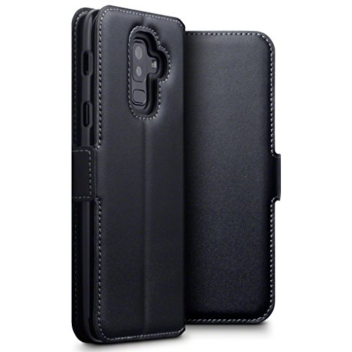 Terrapin, Kompatibel mit Samsung Galaxy A6 Plus 2018 Hülle, Premium ECHT Leder - Slim Fit - Flip Handyhülle Samsung Galaxy A6 Plus 2018 Tasche Schutzhülle - Schwarz