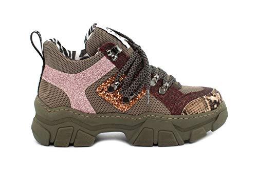 MELINE Sneaker 751 Roccia Nocciola-Glit. Vino-F.do Verdone Taglia 41 - Colore Verde Militare