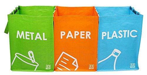 Cubo basura reciclaje juego 3 bolsas reciclaje asas