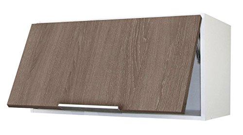 Berlioz Creations Subwoofer Hochwertige Küche auf Dunstabzugshaube 80, folierte Spanplatte, Eiche Taupe, 80x 34x 35cm