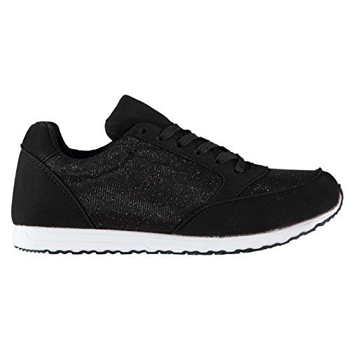 Full Circle Fashion Glitter Femme Chaussures Baskets À Lacets Sneakers Sport Noir