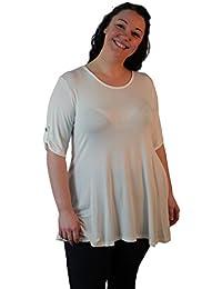 WearAll - Damen Übergröße Rundhalsausschnitt Kurzarm Ausgestelltem Lange Top - 10 Farben - Größe 42-56